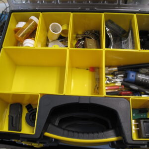 Storage box, Assorted parts, Tools